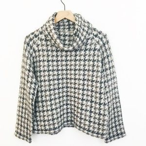 Madewell Houndstooth Cowl Neck Sweater